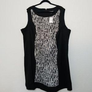 Lane Bryant 28W Black White Pattern Sheath Dress